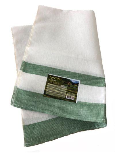 Torchon en lin biologique rayé vert