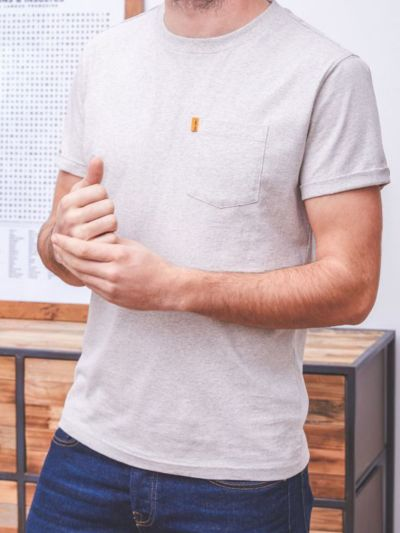 T-shirt 100% coton bio BILLYBELT gris beige chiné, GOTS