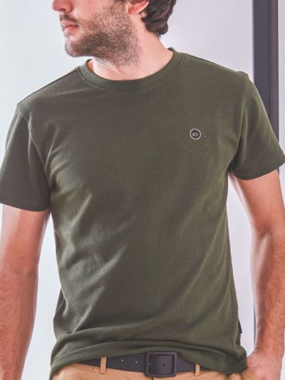 T-shirt 100% coton bio maille piqué BILLYBELT kaki, GOTS
