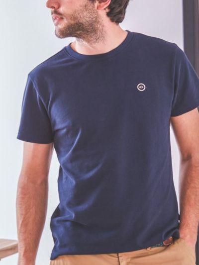 T-shirt 100% coton bio maille piqué BILLYBELT bleu, GOTS