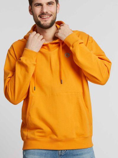 Sweat 100% coton bio à capuche Homme orange GOTS