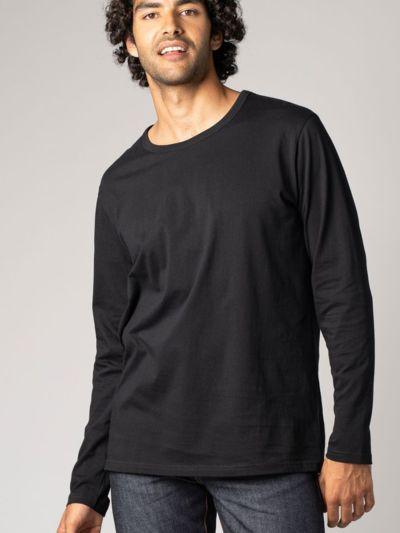 T-shirt 100% coton bio ML homme noir GOTS