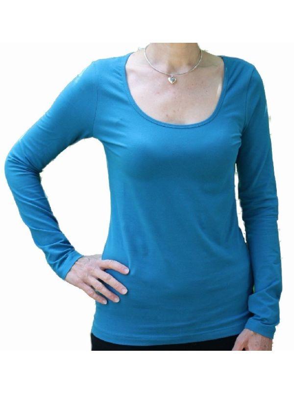 T-shirt coton bio et élasthanne Femme col rond Pétrole