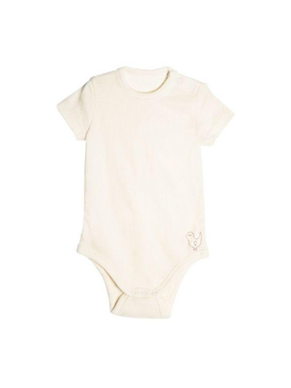Bébé body laine et soie manches courtes Naturel