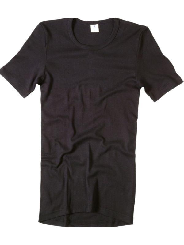 Tricot de peau homme laine et soie manches courtes noir