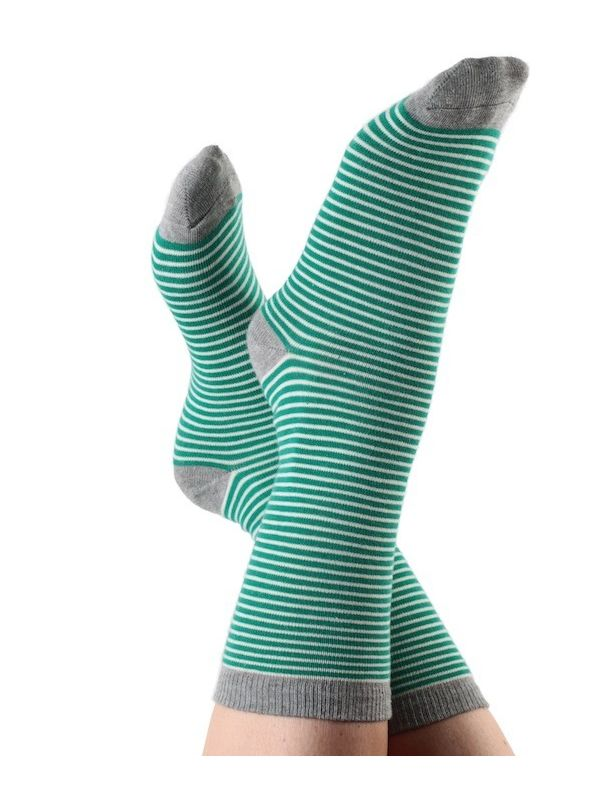Chaussettes coton bio rayées Vert/Naturel Albero