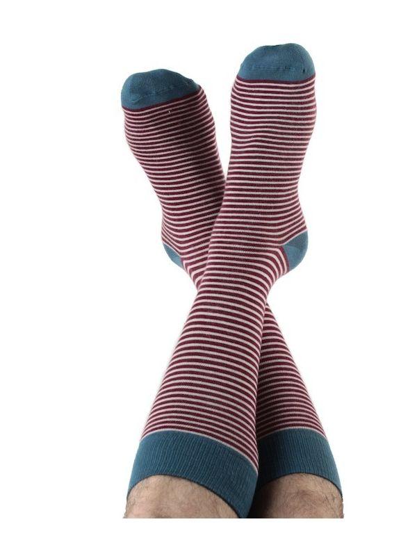 Chaussettes coton bio rayées Bordeaux/Naturel du 39 au 46