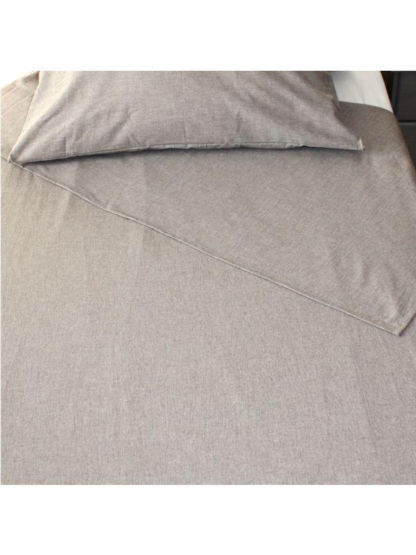 Drap plat coton bio 260X300 cm GOTS coloris Marron chiné