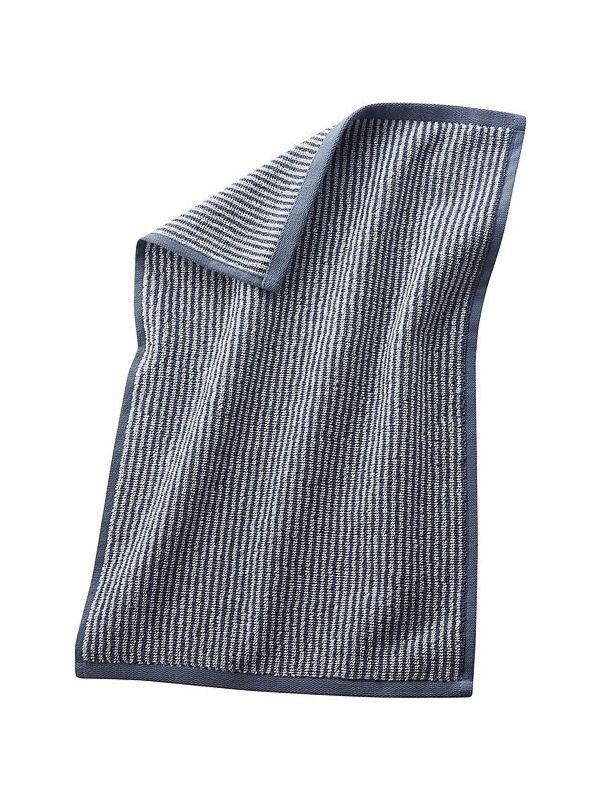 Serviette d'invité coton bio 30X50 Rayé Naturel/Bleu minéral