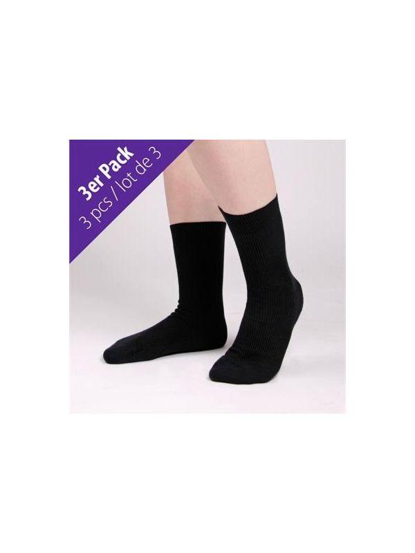 Lot de 3 chaussettes coton bio du 37 au 44 Noir GOTS