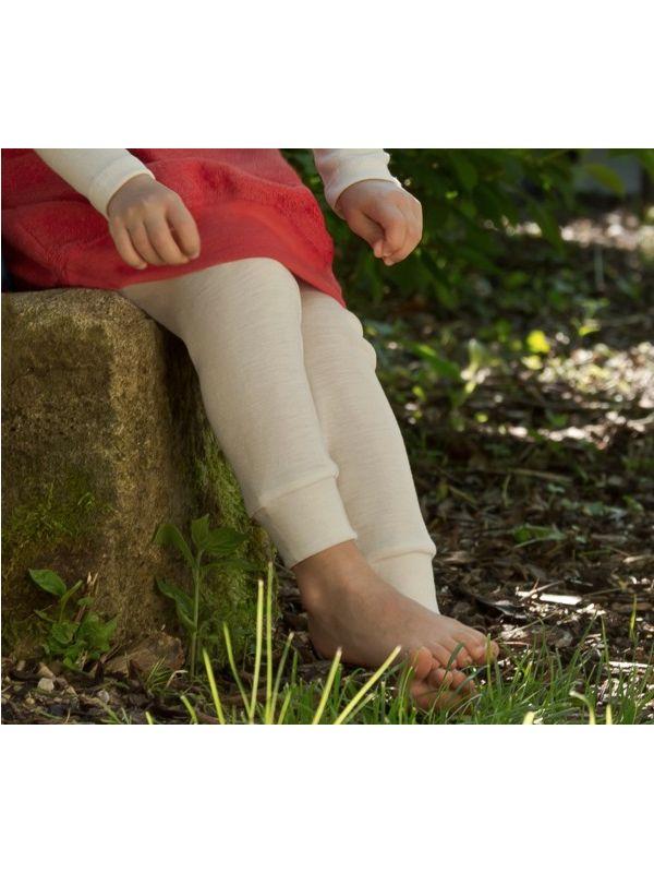 Enfant caleçon long laine et soie unisexe Naturel