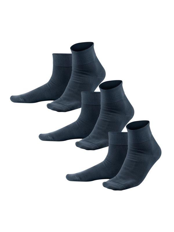Lot de 3 chaussettes coton bio du 37 au 44 bleu GOTS
