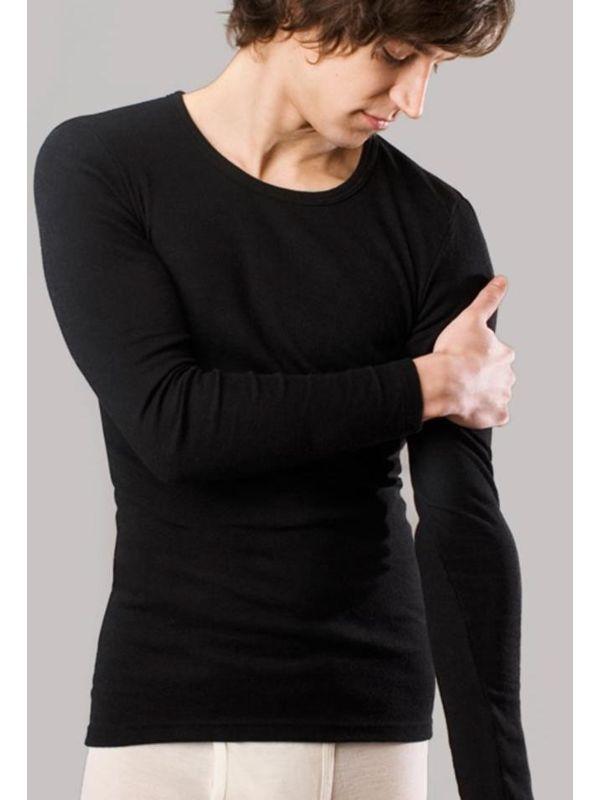 Homme tricot de peau laine et soie GOTS manches longues noir