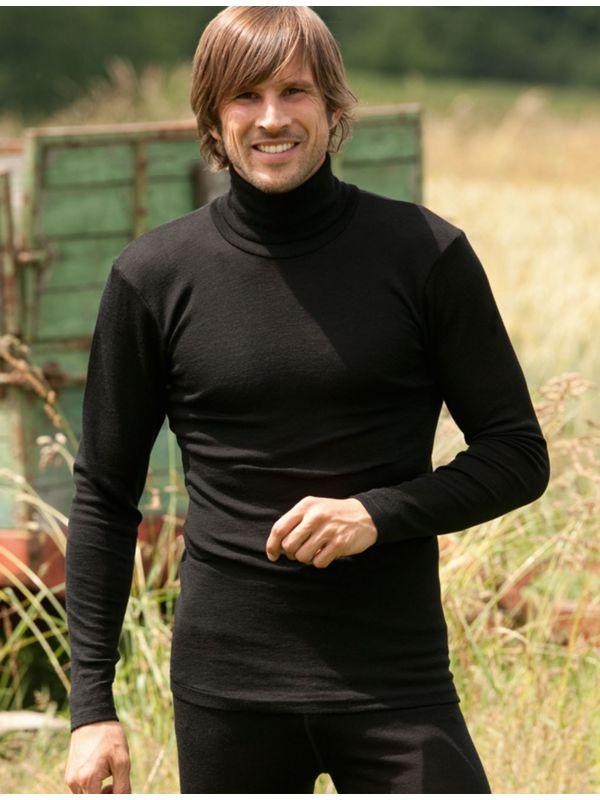 Homme sous pull col roulé laine et soie