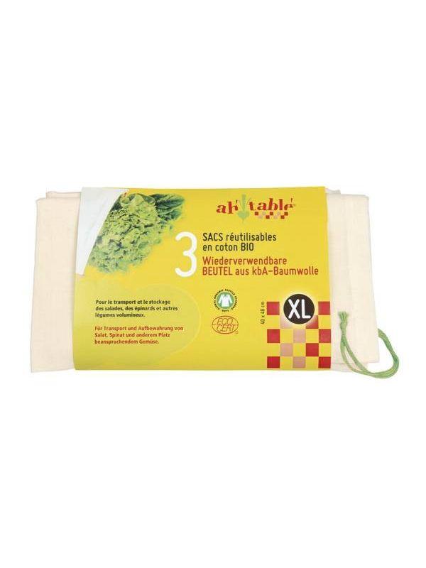 Lot de 3 sacs coton bio, taille XL 40X40 cm GOTS