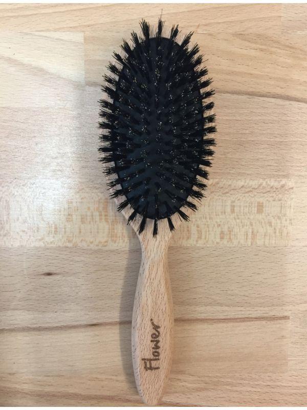 Brosse plate en bois FSC et poils de sanglier, 22 cm