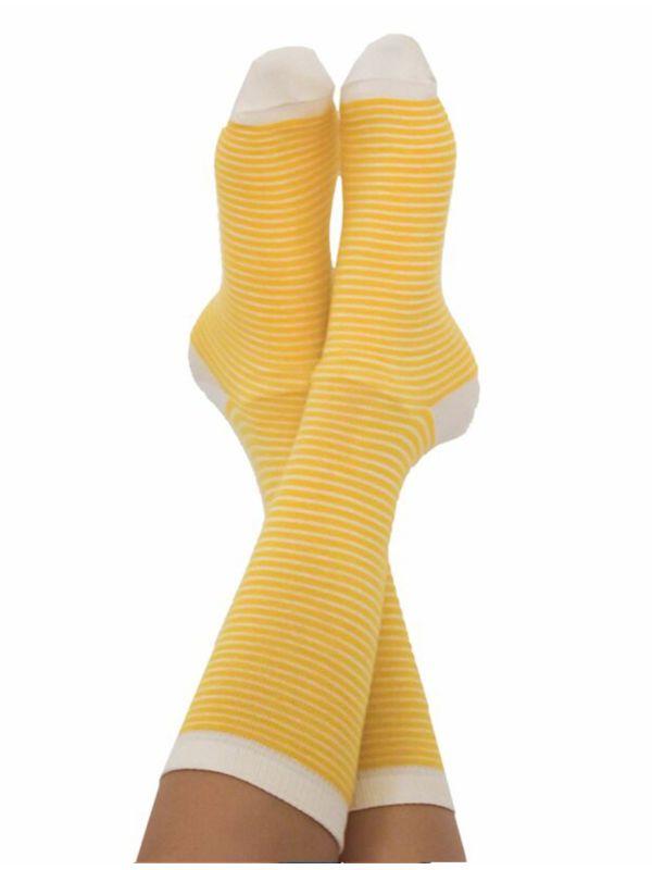 Chaussettes coton bio du 35 au 42 rayées Jaune/Naturel
