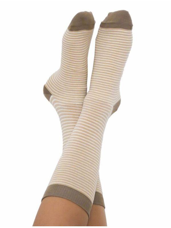 Chaussettes coton bio du 35 au 42 rayées  Marron/Naturel