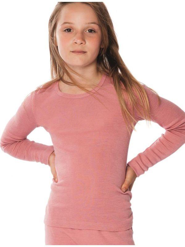 Enfant tricot de peau laine et soie unisexe certifié GOTS manches longues Rose