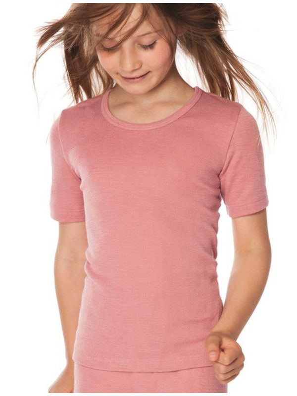 Enfant tricot de peau laine et soie certifié GOTS manches courtes Rose