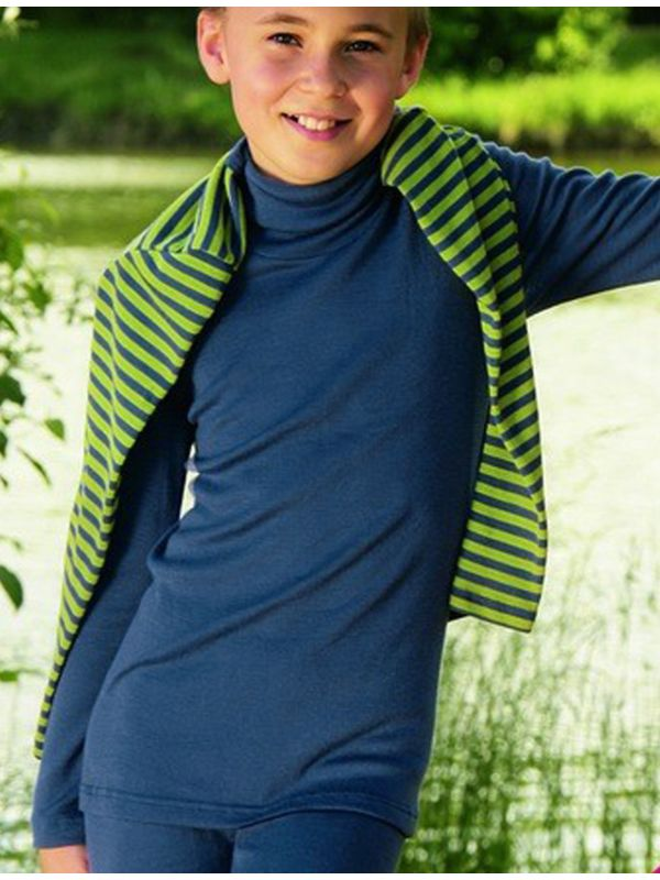 Enfant sous pull laine et soie unisexe Bleu