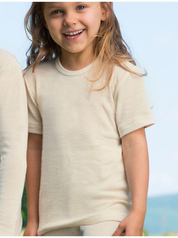 Enfant tricot laine et soie MC unisexe Naturel de 2 à 17 ans