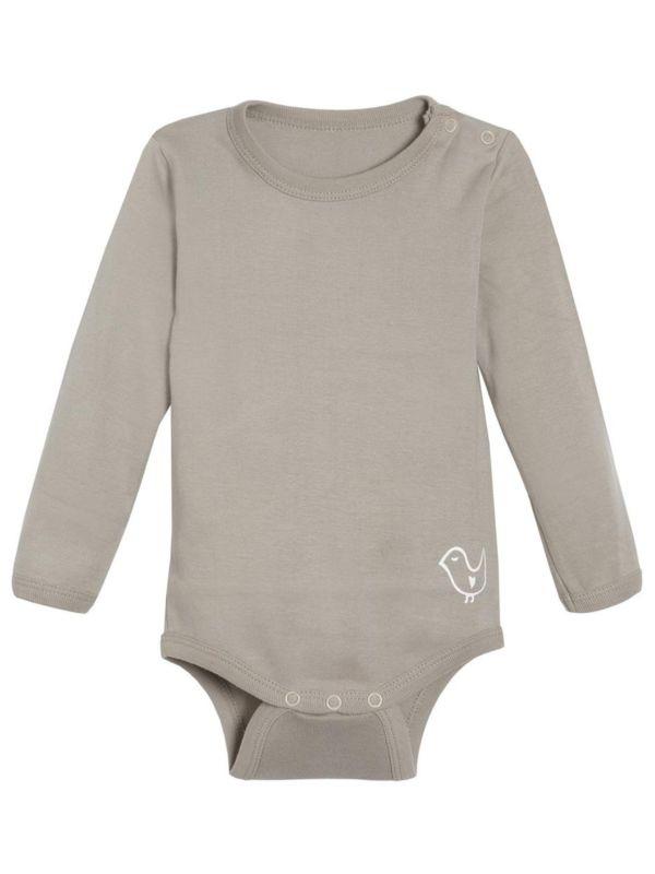Body coton bio bébé unisexe, manches longues Taupe