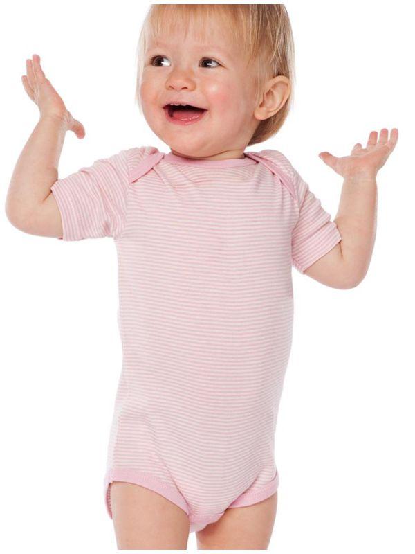 Body coton bio manches courtes rayé rose De 0 à 3 ans