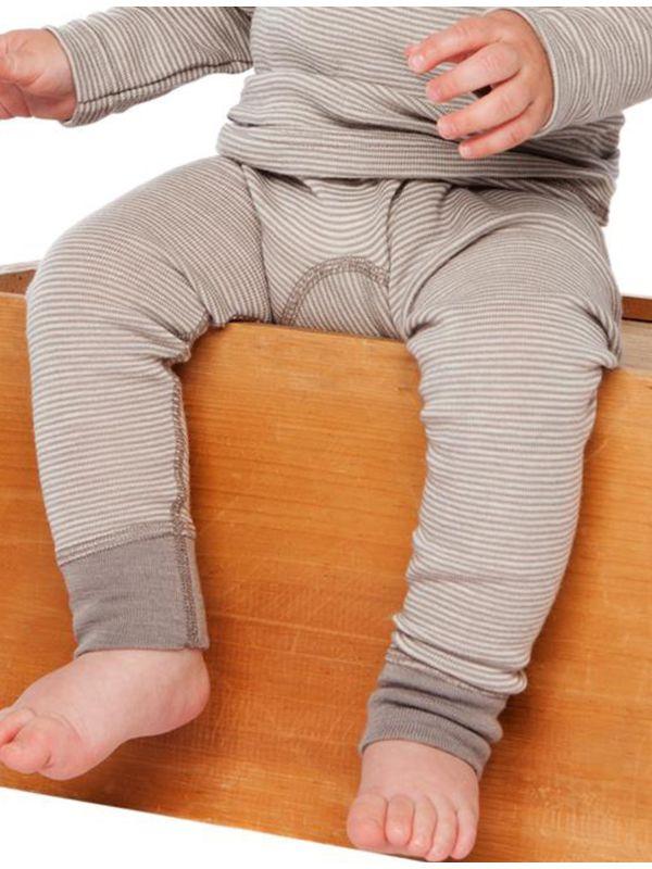 Bébé caleçon long laine et soie manches longues Rayé