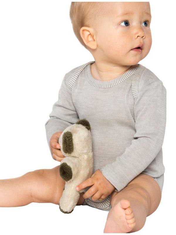 Body laine et soie biologiques Gris clair