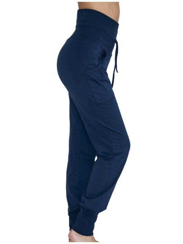 Pantalon coton bio bas resserré bleu marine