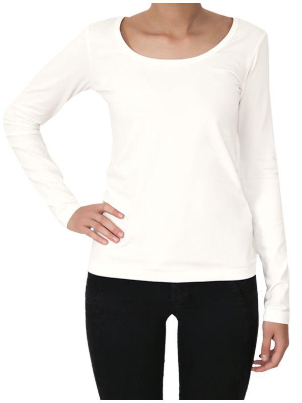 T-shirt léger manches longues Femme col rond naturel
