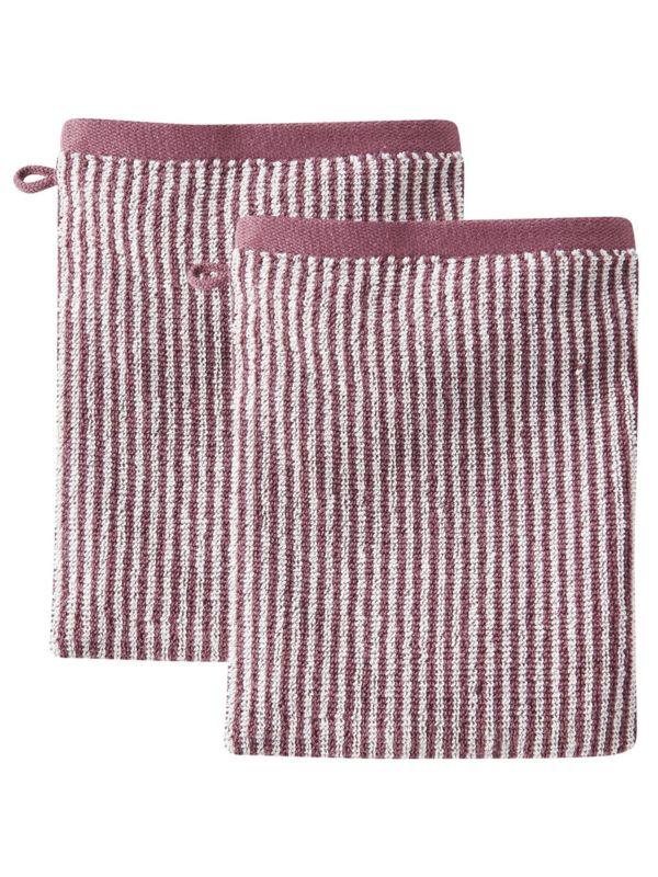 2 gants de toilette coton bio Rayé Naturel/Baie clair