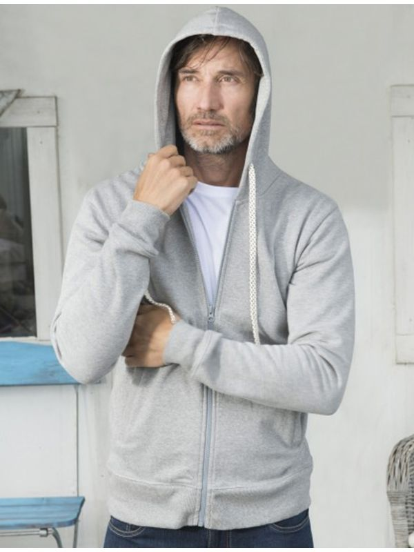 Veste à capuche coton bio Homme Grise