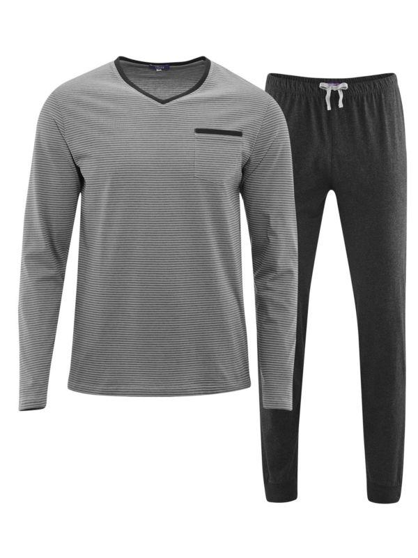 Pyjama 100% coton bio rayé Gris/Anthracite GOTS