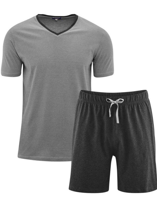 Pyjama/short 100% coton bio rayé Gris/Anthracite GOTS