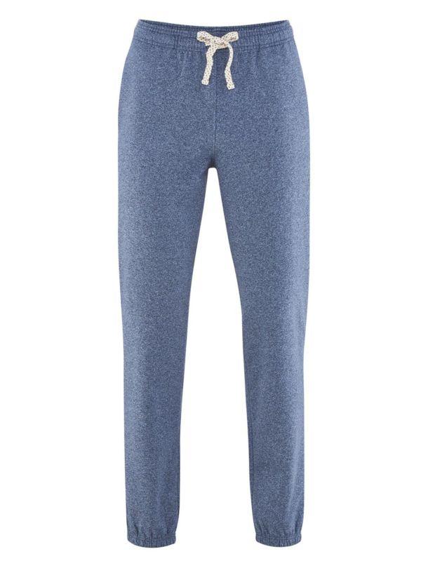 Pantalon 100% coton bio sport homme Bleu chiné