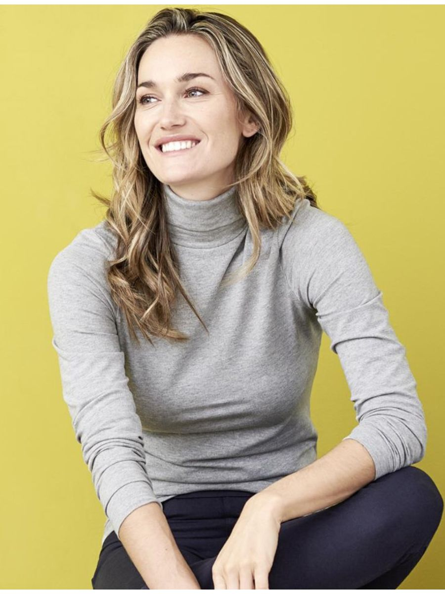 most popular exquisite design order online Sous-pull 100% coton bio col roulé, femme, GOTS, gris chiné