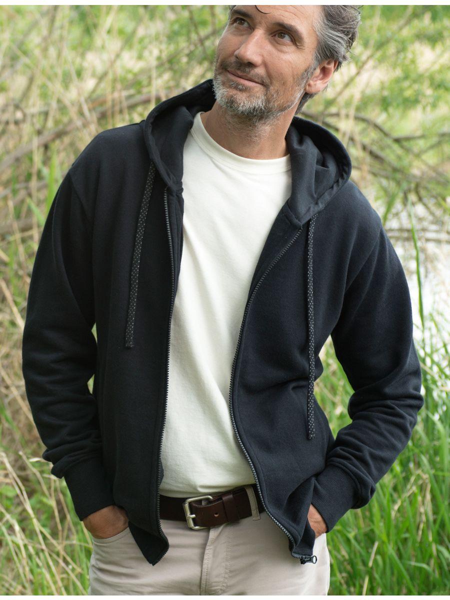 Veste 100% coton bio à capuche Homme Noir
