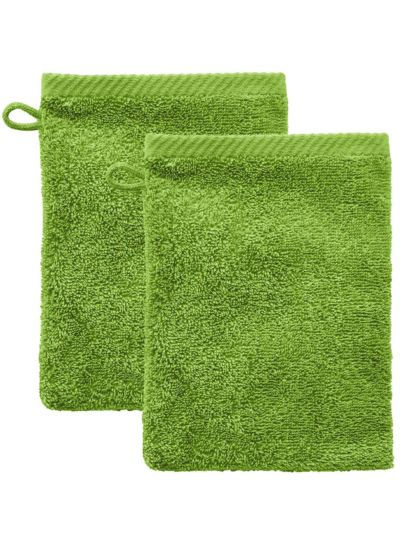 "Lot de 2 gants de toilette 100% coton bio ""Lime"""