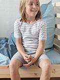 Pyjama/short coton bio de 2 à 11 ans unisexe Gris chiné uni/rayé