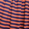 Sweat 95 % coton bio 5% Elasthane largeur 180 cm rayé Orange/Marine GOTS