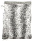 Gant de toilette coton bio Rayé Naturel/Taupe clair