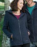 Femme veste 100% laine biologique à capuche Denim chiné
