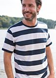 T-shirt coton bio homme Rayé Blanc/Marine