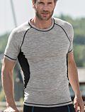 Homme T-Shirt laine et soie manches courtes cintré Noir/Gris