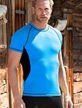 Homme T-Shirt laine et soie manches courtes cintré Bleu/Noir