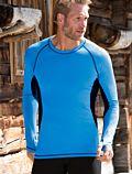 Homme T-Shirt laine et soie ML cintré Bleu/noir