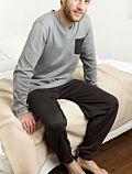 Pyjama 100% coton bio Homme rayé Marron foncé/Naturel