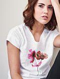 Living Crafts T-shirt coton bio coquelicots , Blanc cassé
